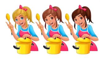 Menina com colher está cozinhando três isolado caricatura personagens com diferente cabelo cores