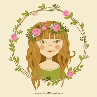 Menina com coroa da flor