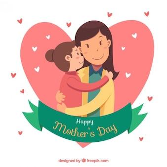 Menina com seu fundo mãe
