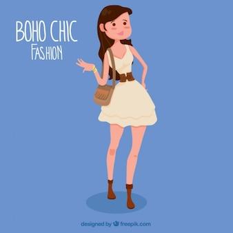 Menina com um lindo vestido no estilo boho