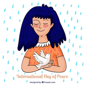 Menina desenhada a mão com pomba sob a chuva