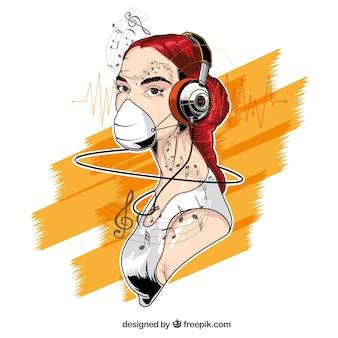 menina desenhada mão com fones de ouvido ilustração
