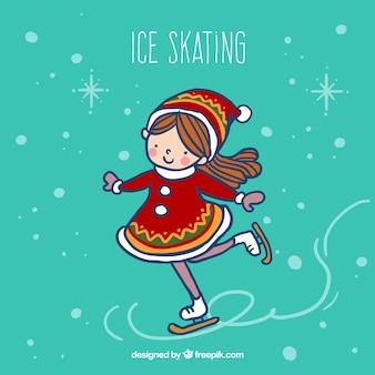 Menina esboçado fazendo patinação no gelo