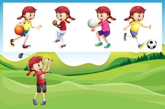 Menina jogando golfe e outra ilustração esportiva