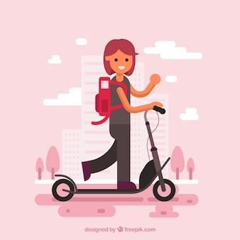 Menina na scooter elétrica