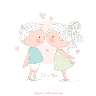 Menina que beija um menino, ilustração