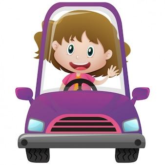 Menina que conduz um carro