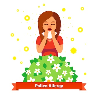 Menina que sofre de alergia ao pólen de primavera