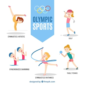 Meninas desportivas agradáveis prontas para os Jogos Olímpicos