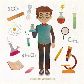 menino ciência Watercolor
