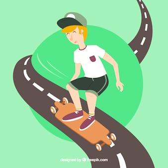 Menino com seu skate na estrada