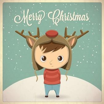 Menino design de cartão de Natal com caráter chapéu ilustração vetorial fundo