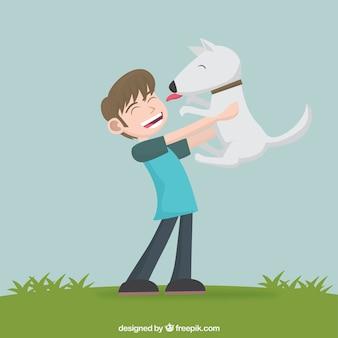Menino e cão bonito