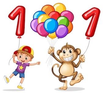 Menino e macaco com balão para o número um