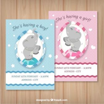 Menino e menina cartões do chuveiro do bebê