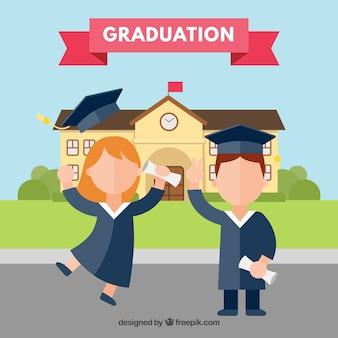 Menino e menina comemorando graduação com design plano