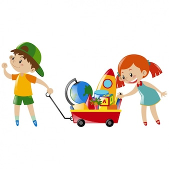 Menino e menina que jogam com brinquedos
