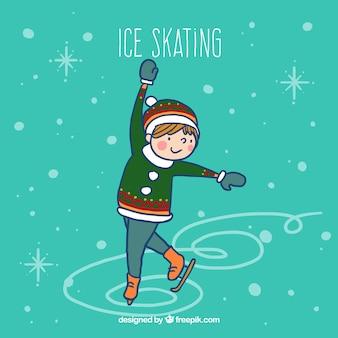 Menino esboçado fazendo patinação no gelo