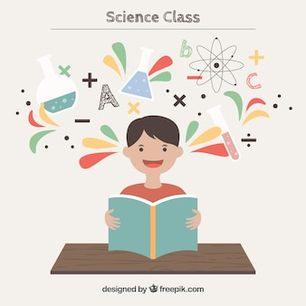 Menino feliz na classe da ciência