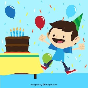 Menino feliz na festa de aniversário