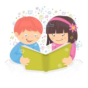 Menino, garoto e menina, lendo, livro, tabela, poster, vetorial, Ilustração