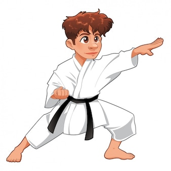 Menino karate praticando