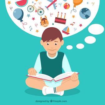 Menino que lê histórias fantásticas