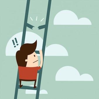 Menino que usa um design escada