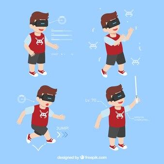 Menino se divertindo com óculos de realidade virtual