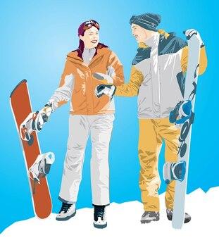 menino snowboard e ilustração da menina