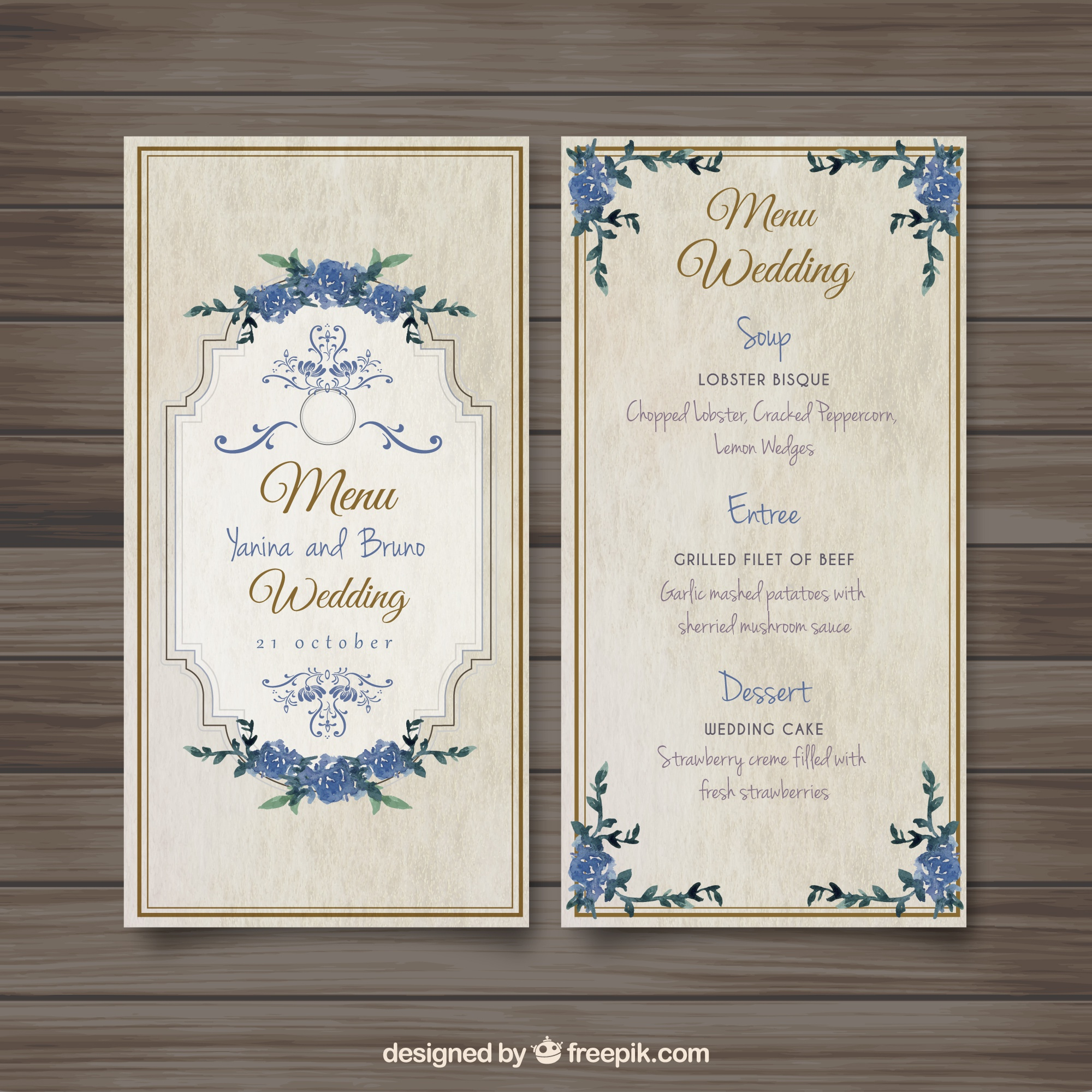 Menu antiquado do casamento