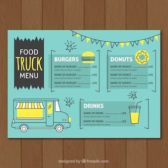 Menu criativo de caminhão de comida