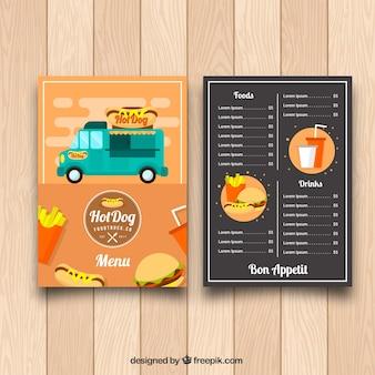 Menu de caminhão com comida divertida com design plano