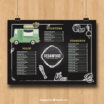 Menu de caminhão de alimentos com comida vegana