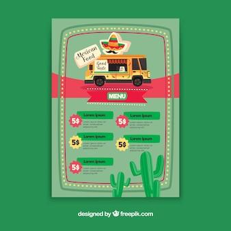 Menu de caminhão de comida com comida mexicana