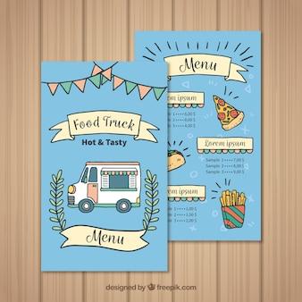 Menu de caminhão de comida desenhado à mão com pizza