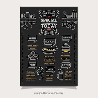 Menu de caminhão de comida elegante no quadro-negro