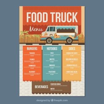 Menu de caminhão de comida moderna com estilo colorido