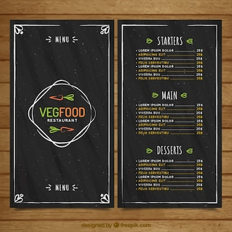 Menu de comida Desenho vegan do vintage no estilo negro