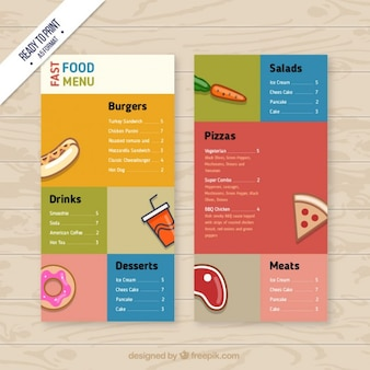 Menu de comida rápida colorido