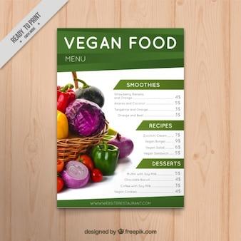 menu de comida vegan com uma imagem