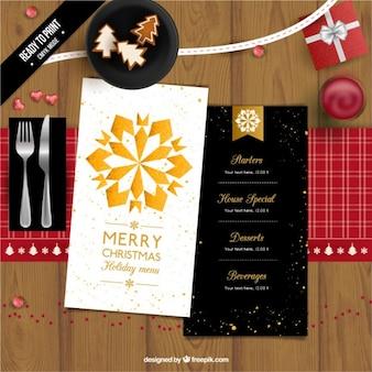 Menu de Natal com uma estrela dourada