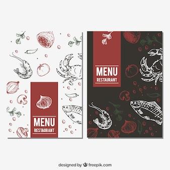Menu de restaurante com esboços de comida