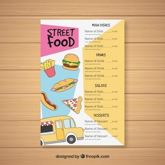 Menu de rua de comida desenhada à mão