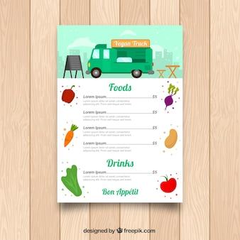 Menu do caminhão de comida vegetariana