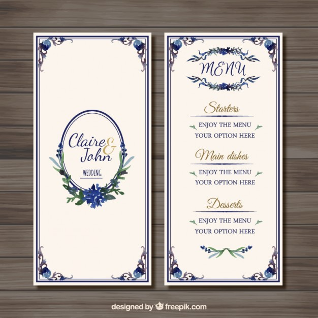 Menu do casamento Ornamental
