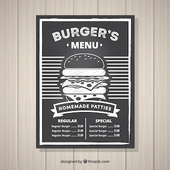 Menu do hamburguer do vintage no quadro