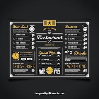 Menu do restaurante, cor preta