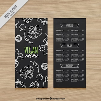 Menu do restaurante vegan no estilo negro