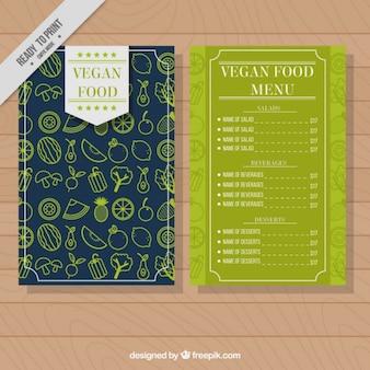 menu do restaurante vegetariano elegante com um fundo padrão